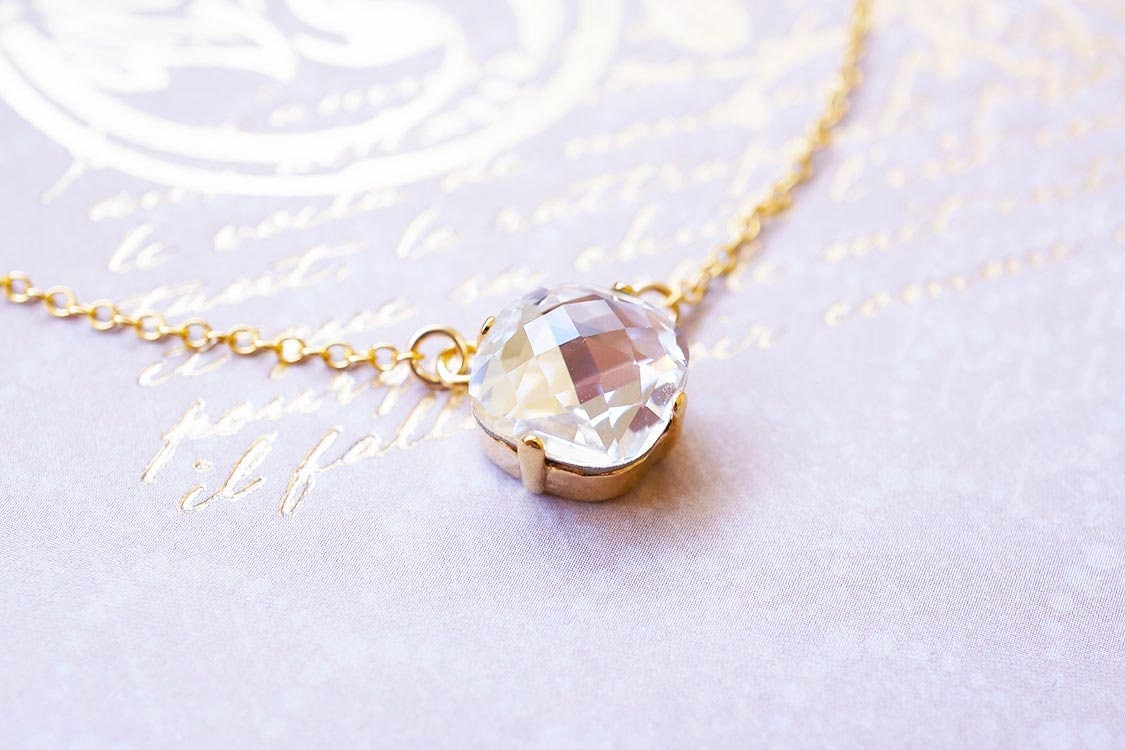 Necklace, Gold Necklace, Crystal Necklace, Cushion Cut Necklace ...