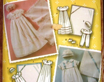 Infants Christening Gown, Romper, Booties, Hats and Blanket Sizes XXS Xs S M L Simplicity Pattern 5213 UNCUT