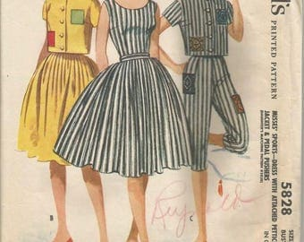 1960s Dress Sundress with Bouffant Skirt Jacket Pedal Pushers McCall's 5828 Uncut Size 12 Bust 32 Women's Vintage Sewing Pattern