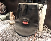 Medium bag---Black  leather with Red Eye
