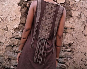 Organic Hemp Cotton  Long Brown Top with Tribal Viking ornament inspired Print and Native American Style