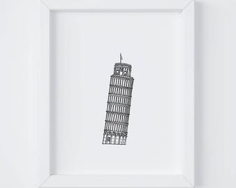 8x10 Leaning Tower of Pisa Print | Pisa | Italy | Line Drawing