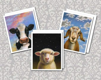 Farm Animal Note Cards - Cow Cards - Goat Cards - Sheep notecards - Barnyard - Dairy Farm
