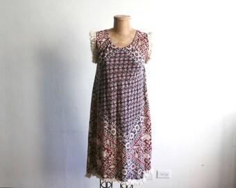 Indian Cotton Block Print Fringe Dress