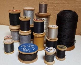 18 Spools of Thread, Old Wood Spools, Black Gray Khaki - Oak Hill Vintage