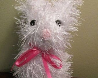 Handmade Knit Bunny Rabbit White Fur Stuffed Animal