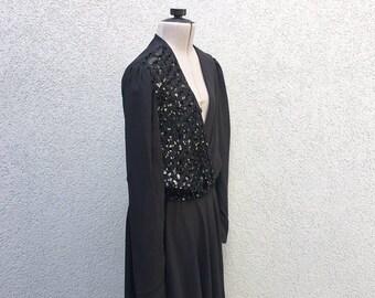Vintage 80s Sheer Black Sequin Party Dress, Long Sleeve Dress, Elastic Waist, Belt Loops, Size M