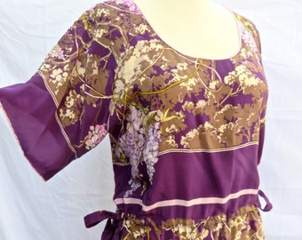 Vintage Gucci Violet Silk Floral Dress/1970's Gucci Silk Dress/Violet Floral Silk Dress/Medium