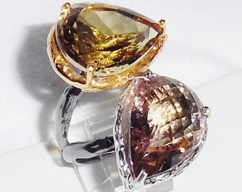 96TCW Natural Pear MORGANITE gemstones, 14kt Yellow Gold, Black Rhodium, Silver Ring Size 7
