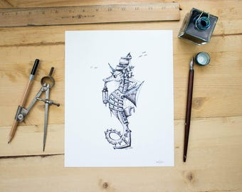 Pirate Seahorse - Ink drawing of a seahorse turned Pirate. Steampunk