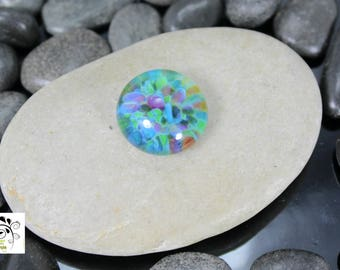 Monet Watercolor - Lampwork Glass Cabochon - 16mm - Jewelry Making Supply