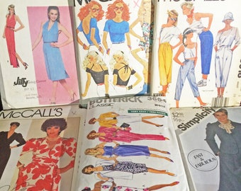 Lot of 10 Vintage sz 6/8 Totally 80's Sewing Patterns Pop Princess Club Joan Collins Shoulder Pads Summer