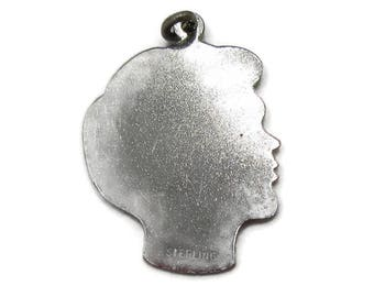 Sterling Silver Charm Young Boy Teen Silhouette Profile Face