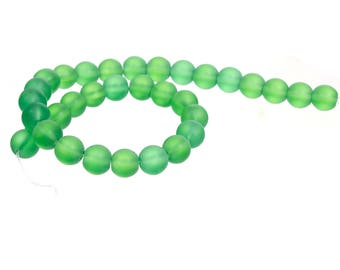 """10mm Dark Green Frosted Glass Round Beads - 12"""" strand (30cm) - Approx 30-32 beads per strand - Hole Size: 2mm"""