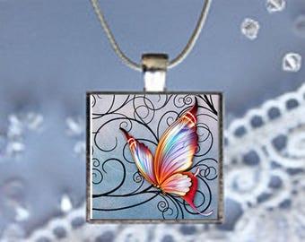 Pendant Necklace Pastel Butterfly