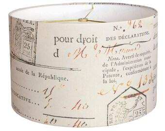 MEDIUM Linen French Document 10 11 12 Inch Medium Drum Lamp Shade - French Script Lampshade - Custom Made to Order Medium Lamp Shade