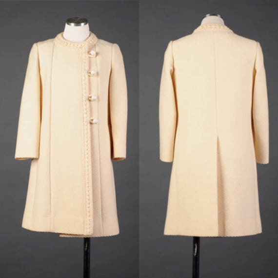 Vtg 1960s cream colored pea coat ivory wool coat by