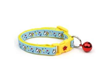 Unicorn Cat Collar - Unicorns and Rainbow Stars on Blue -Small Cat / Kitten Size or  Large Size Collar