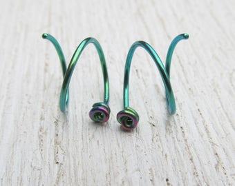 Rose Hoop Earrings / Pink and Green Earrings / Anodized Niobium Hoops / Double Piercing Earrings / Double Earrings / Hoops for Two Holes