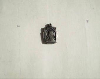 Virgin Mary & Jesus - Vintage Medal or Pendant - Metal - Rectangular - Sacred Heart - Our Lady - Catholic - Holy Charm
