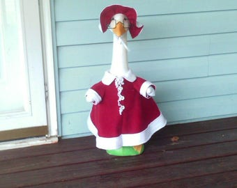 GOOSE CLOTHING - Mrs. Claus outfit for your Lawn Goose ~ Christmas Red Fleece ~Plastic or Concrete Lawn goose clothing ~