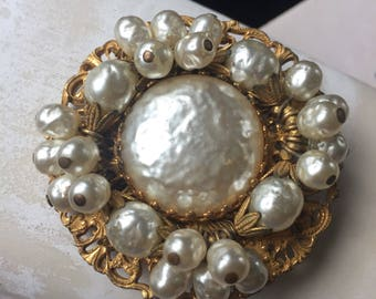 Vintage Signed Mariam Haskell Baroque Pearl Brooch, Elegant Estate Jewelry