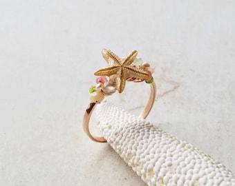 Small Beach Ring, Tiny Starfish Ring, White Shell Ring:  Ready to Ship