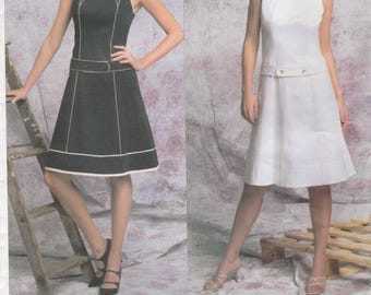 Donna Karan Dress Pattern A Line Yokes Sleeveless Misses Size 6 - 8 - 10 Uncut Vogue 2783 DKNY American Designer