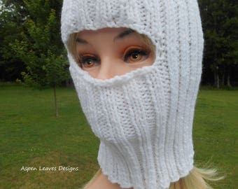 Adult Balaclava in pure white. Full face ski mask for winter wear.
