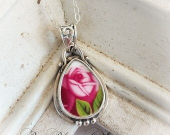 Royal Albert Old Country Roses Deep Pink Rose Petite Pendant Broken China Jewelry Necklace