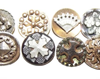 Antique Buttons ~ Metal Buttons ~ Metal Buttons w/ Cut Steel Embellishments