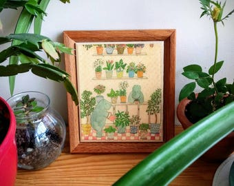 Hippos Watering Plants ~ Framed Tile Wall Art ~ Trivet ~ Susan Verble Gantner ~ Rare