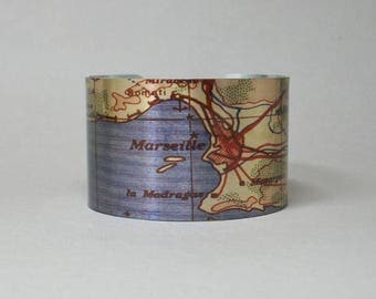 Marseille France Map Cuff Bracelet Unique Gift for the Traveler