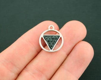 2 Geometric Triangle Charms Antique Silver Tone With Faceted Black Resin - SC7129 NEW5