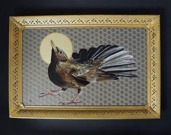 Blackbird with Halo painting - religious art - gold leaf realistic detailed bird painting - black bird art - gold ornate frame - saint icon