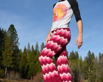 Crochet Pants Bell Bottoms Burgundy to Pink