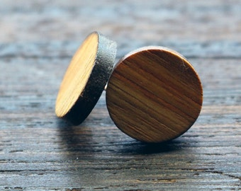 Fake Gauges, Wooden Earrings, Unisex Stud Earrings, Wood Stud Earrings, Wood post earrings, Fake Gauge Earrings, Fake Gauge Plugs, Wood Stud