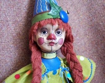 Echo -- a cloth and clay Raggedy Clown art doll by Jan Conwell