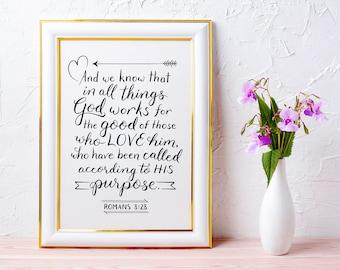 Christian Wall Art ~ God Works for the Good ~ Romans 8:28 ~ Hand-Lettered Design ~ Black