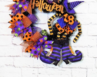 Halloween Wreath, Witch Wreath,  Wreath With Witch, Halloween Decorations, Happy Halloween, Halloween Decor, Orange and Purple