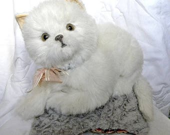 Vintage Real Soft Toys Large White Cat - 1970's Toy
