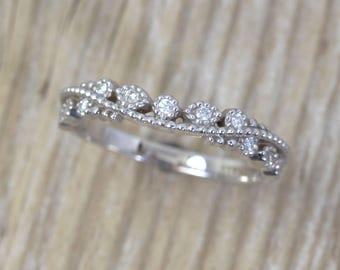 Filigree Bridal Band, Milgrain Wedding Ring, Diamond Filigree Band, Antique Filigree Ring, Vintage Filigree Eternity Band, Promise Ring