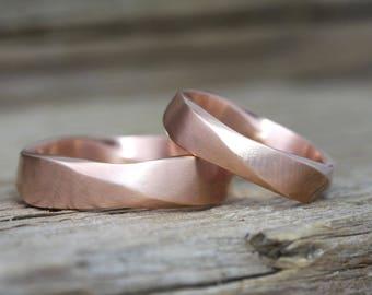 Matching wedding bands, wedding ring set, matching rings, wedding band set , mobius wedding rings set, twisted wedding bands, promise Ring
