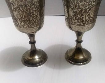 """Chalice Goblet Silver Plate Brass World Gift Z.Y.India 6"""" x 3"""" SET OF 2"""