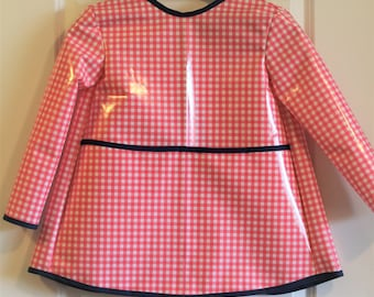 Extra Long Girls Art Smock Kids Waterproof Painting Apron in Pink and White Gingham