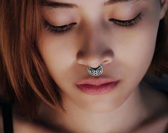 Tribal Septum Ring - Septum Disc - Septum Nose Ring
