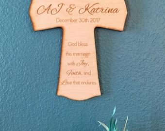 Personalized Wedding Cross, Religious Wedding Cross, Newlywed Gift, Engraved Cross, Personalized Wedding Gifts, Personalized Cross Wedding