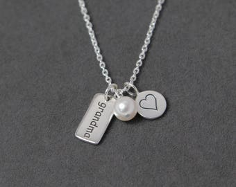 Grandma Necklace Pearl, New Grandma Gift from Grandkids, Sterling Silver Grandma Jewelry, Grandmother Necklace