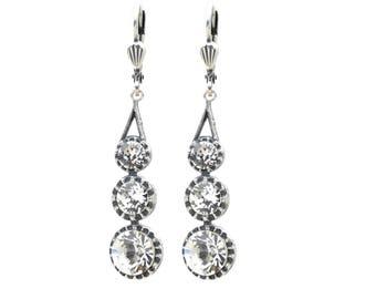 Long Swarovski Crystal Dangle Earring Diamond 3 Stone Earring in Antique Silver
