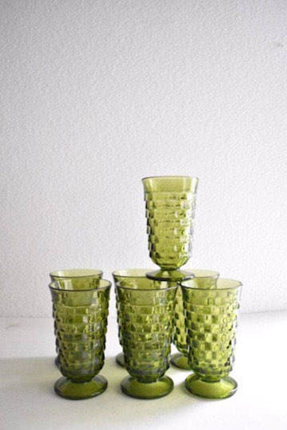 collection of green glass dessert ice cream glass goblets / depression glass set